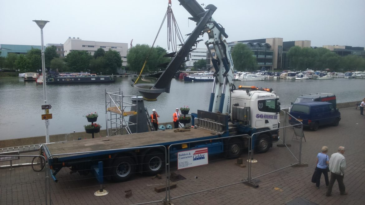The Chimes being returned to the Brayford.