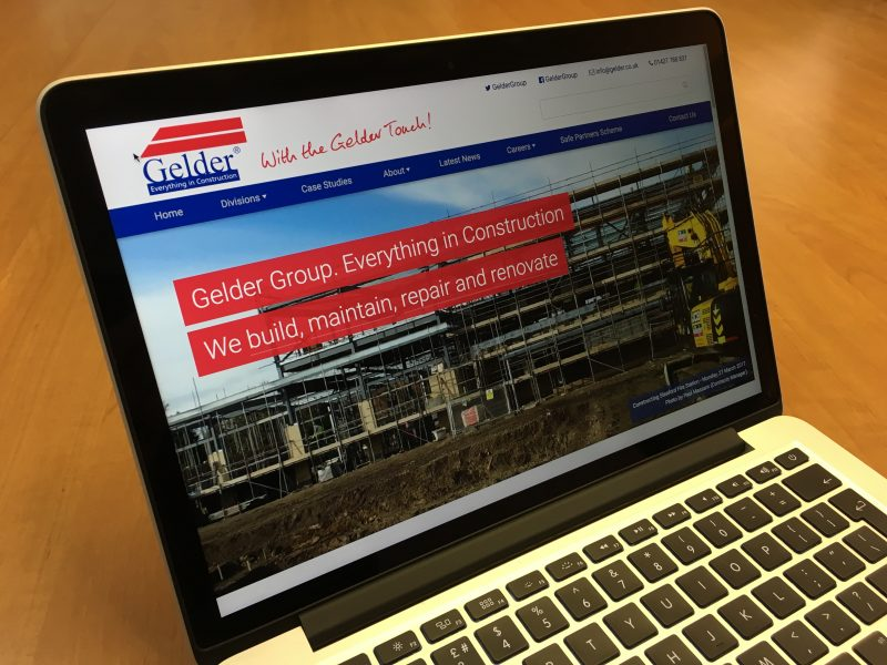 Photograph of the new Gelder Group website, running on a laptop.
