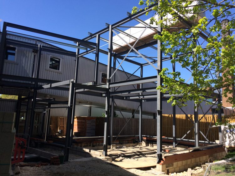 Steelwork erected at Lincoln Hospital.