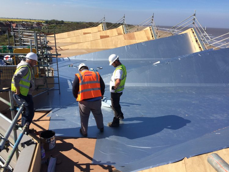 New roof being installed at the North Sea Observatory in Chapel St Leonards.