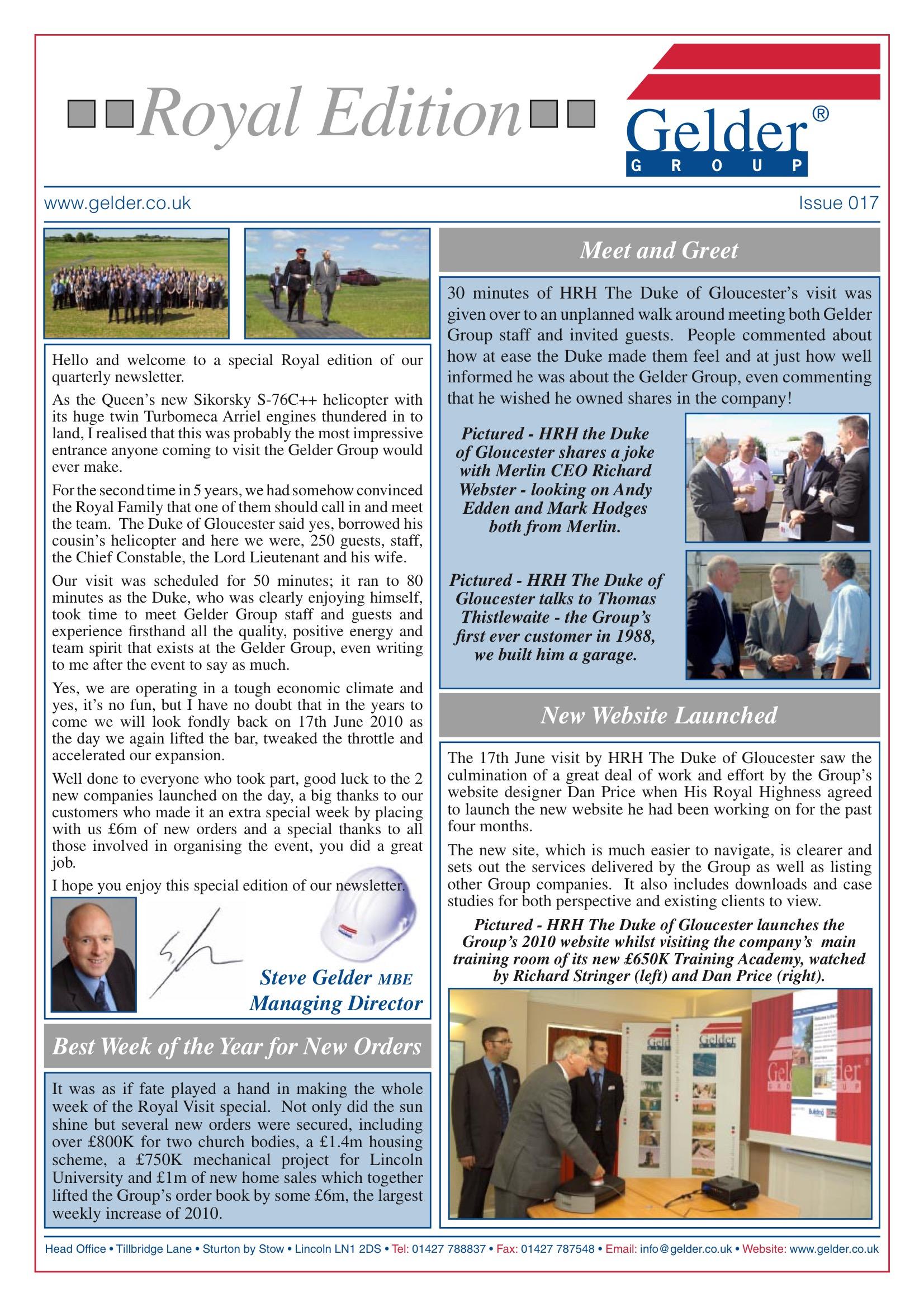 Gelder Group Newsletter – Issue 17 – Royal Edition   Gelder Group