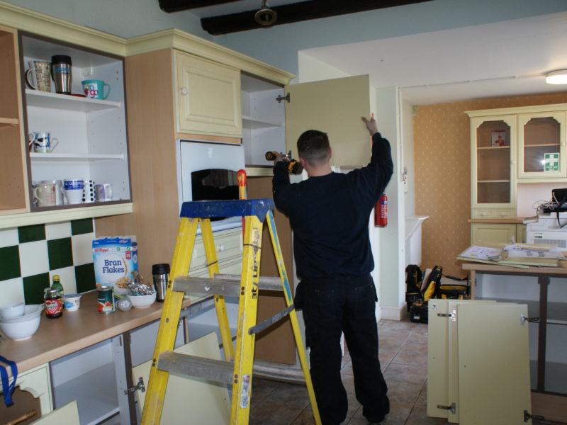 Pictured: Apprentice Joiner Elliott Kirman starting work on the project.